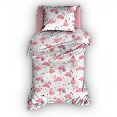 Flamingo dekbedovertrek 120x150 - Rose