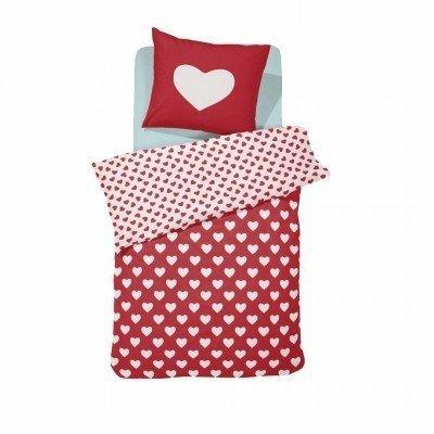 Hearts dekbedovertrek 120x150 - Red