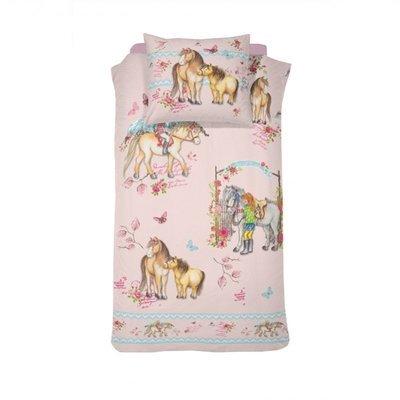 Paarden dekbedovertrek 140x200 - Tiamo Pink