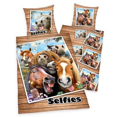 Selfies dekbedovertrek 140x200 - Paarden
