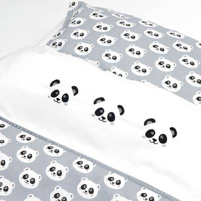 Panda dekbedovertrek 100x135 - Grijs