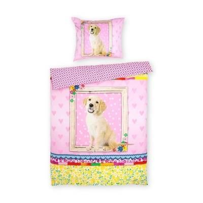 Dog dekbedovertrek 140x200 - Roze