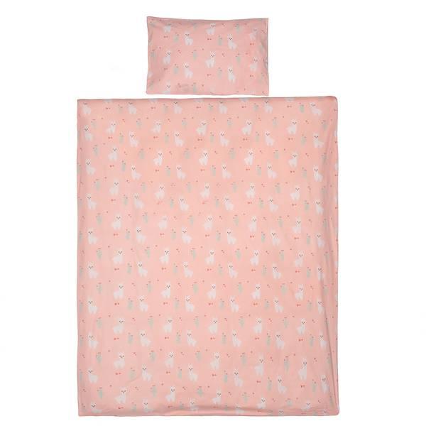 Lama dekbedovertrek 120x150 - Roze