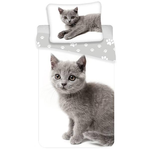 Kitten dekbedovertrek 140x200 - Grijs