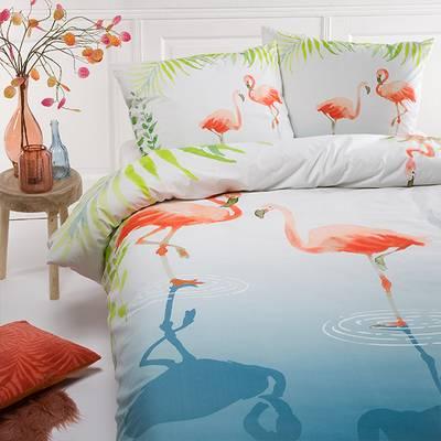 Flamingo dekbedovertrek 140x200 - Percal Katoen
