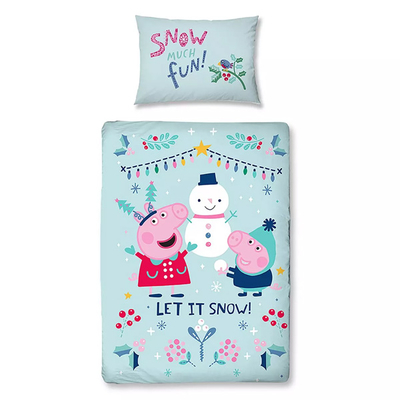 Peppa Pig dekbedovertrek 120x150 - Snowman