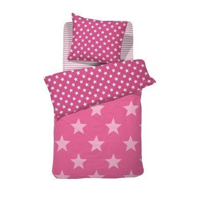 Sterren dekbedovertrek 120x150 - Starville Pink