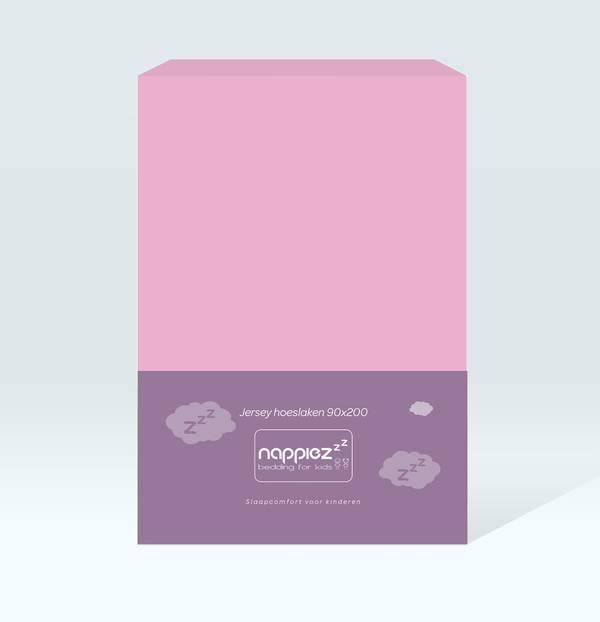 Nappiez jersey hoeslaken 90x200 - Roze