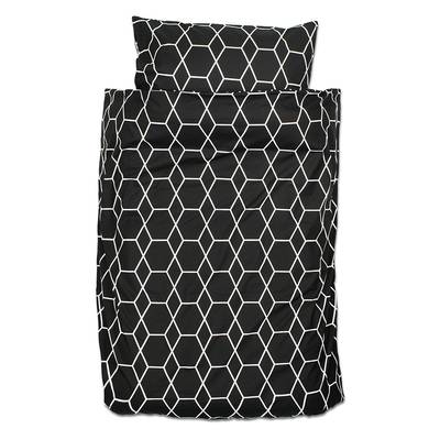 Grid dekbedovertrek 120x150 - Zwart